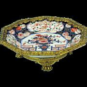Grand Tour gilt bronze mounted Japanese Imari porcelain plate compote or tazza