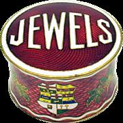 Vintage Guilloche enamel dresser box that says JEWELS