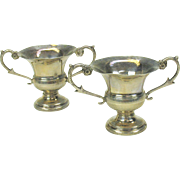 Pair of antique coin silver miniature doll house urns 19th Century