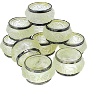 Set 12 Art Deco frosted glass napkin rings with Roses and silver plated rims