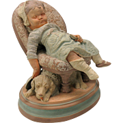 Antique Austrian figure-DOG under sleeping child's chair painted terracotta