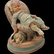 Antique Austrian figure-Dog under sleeping child's chair painted terracotta