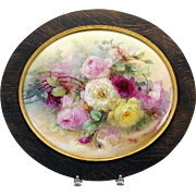 """HUGE masterpiece Limoges hand painted porcelain plaque of ROSES 16"""""""