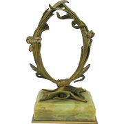 Art Nouveau bronze & marble watch or portrait miniature holder