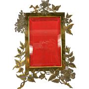 Large Art Nouveau floral bronze table photo picture frame marked M Paris