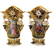 "Huge pair Museum quality Paris porcelain portrait vases 16"" 3D flowers cobalt & gold"