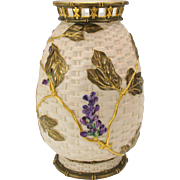 Large 19th Century Royal Worcester porcelain Wisteria vase with reticulated top.