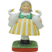 Vintage Schafer Vater German bisque nodder-girl holding two geese