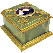 Antique French gilt bronze, marble and enamel dresser box