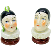 Pair of German porcelain Pierrot and Pierrette walking stick cane handle