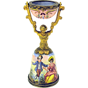 Rare miniature Viennese bronze & enamel figural Wedding cup for a doll or dollhouse