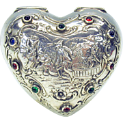 Larger antique 830 silver cabochon stone set heart shaped box