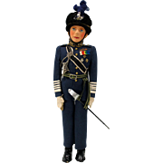 Vintage Farnell King George VI felt doll in RAF uniform with original tag