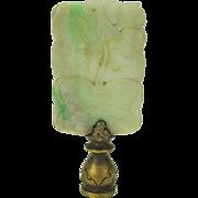 Vintage Chinese apple jade or jadeite hardstone pendant amulet used as a lamp finial Lotus leaves