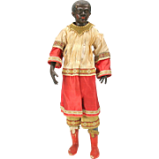 Early Italian Black man creche doll figure terracotta face and hands 17.5 inches tall
