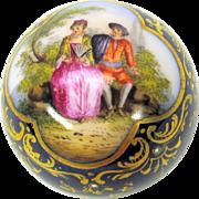 Round Meissen or Dresden porcelain portrait cane top or walking stick handle