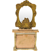 Large ormolu doll house miniature mirrored sideboard with clock-needs TLC