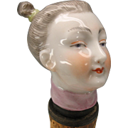 Early 19th Century Meissen porcelain walking stick cane handle girl with pigtails