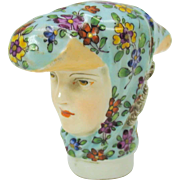 Early 19th Century Meissen porcelain walking stick cane handle Woman with head scarf