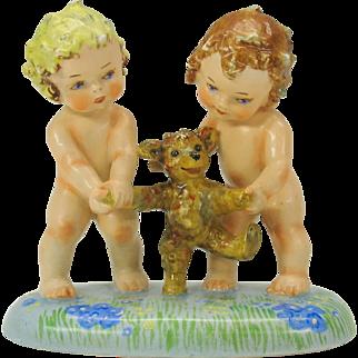 Vintage Postcard Illustrator Agnes Richardson porcelain figure 2 girls with Teddy Bear
