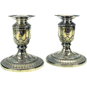 Antique pair Meriden silver plated candlesticks