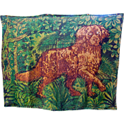 Victorian Sleigh carriage or coach blanket-Dog with glass eyes-signed