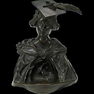 1899 signed Art Nouveau bronze of a Lady college graduate