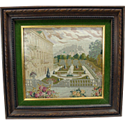 19th Century petite point tapestry of a European stately home and formal gardens
