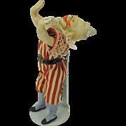 Unusual 19th Century all original Clown acrobat doll