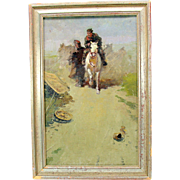 Vintage Russian or Eastern Bloc Impressionist oil painting of scene of soldiers and horse