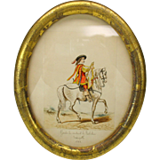 Antique watercolor of Musketeer Trumpeter on a white horse Guard of Cardinal Richelieu 1628
