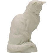 1926 signed Louis Riche French Cat statue figure white biscuit porcelain
