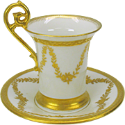 Lavishly gilded TV Limoges cabinet cup and saucer