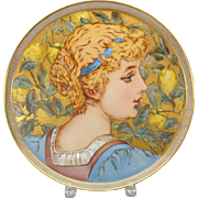 Victorian hand painted Limoges portrait tray charger Lady with lemons