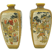 Pair miniature Japanese Satsuma vases with Warriors, Immortals and people