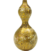 Antique Japanese Satsuma Gourd shaped vase heavily gilded