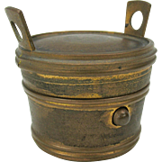 Victorian novelty traveling inkwell in the form of a pail or bucket
