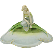 Antique Art Nouveau Austrian porcelain centerpiece Nymph by pool