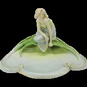 Antique Art Nouveau Austrian porcelain centerpiece Nymph by pool