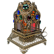 Antique jeweled Fairy Lamp Moorish house shaped