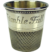 "Vintage novelty sterling silver shot glass-oversized thimble ""Only a thimble full"""