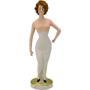 "Large German bisque Bathing beauty Gibson girl figure 14"" with original wig"