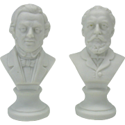 Pair antique German parian bisque doll house miniature busts Chopin & Tschaikowsky