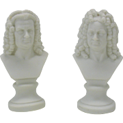 Pair German parian bisque doll house miniature busts Bach & Handel