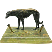 Large Art Deco bronze Borzoi Russian Wolfhound dog pen holder desk piece
