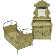 2 Antique German painted tin doll house miniature furniture  Bed and mirrored bureau