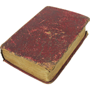 1841 Red leather bound doll size miniature book 3 1/2""