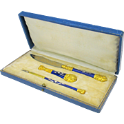 1870's French Grand Tour ormolu & enamel desk writing set in box-dip pen, wax seal and letter opener