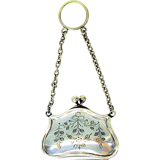 Victorian miniature engraved silver plated purse on a finger ring