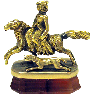 Large 14k gold figural wax seal pendant Lady riding sidesaddle with dog